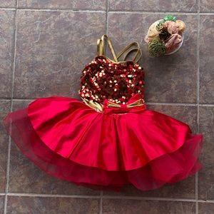 Weissman Red Gold Sequin Tutu Dance Costume CS